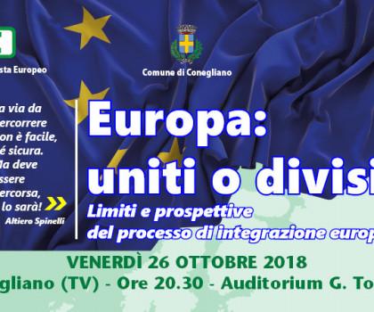 """""""Europa: uniti o divisi?"""" Iniziativa il 26 ottobre a Conegliano"""