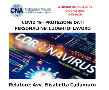 COVID 19 - PROTEZIONE DATI PERSONALI NEI LUOGHI DI LAVORO